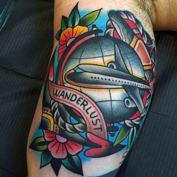 Colorful Travel Themed Male Bicep Tattoos