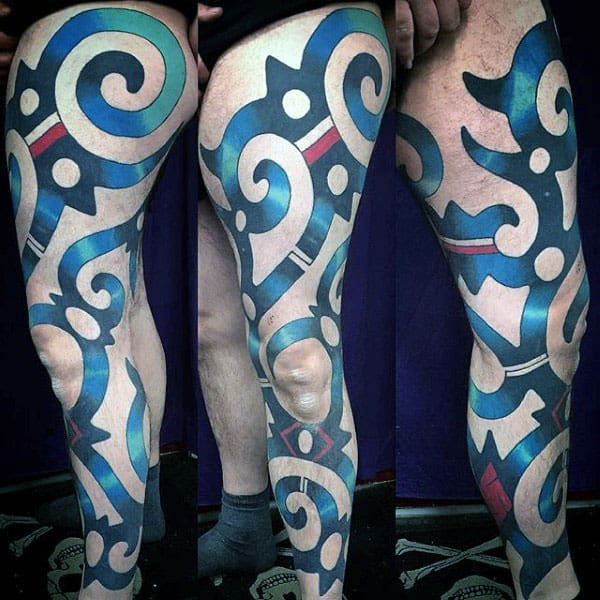 Colorful Tribal Mens Full Leg Tattoo Ideas