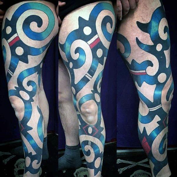 Colorful Tribal Mens Full Leg Tattoo Ideas