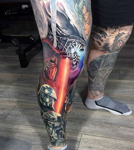 Colorful Video Game Crazy Full Leg Sleeve Tattoos For Guys