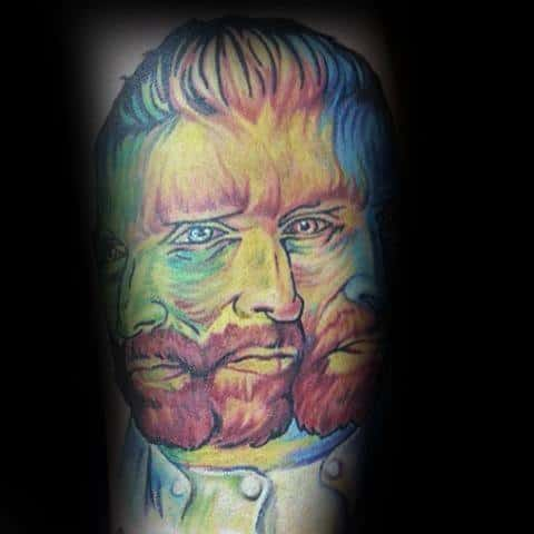 Colorful Vincent Van Gogh Portrait Male Arm Tattoos