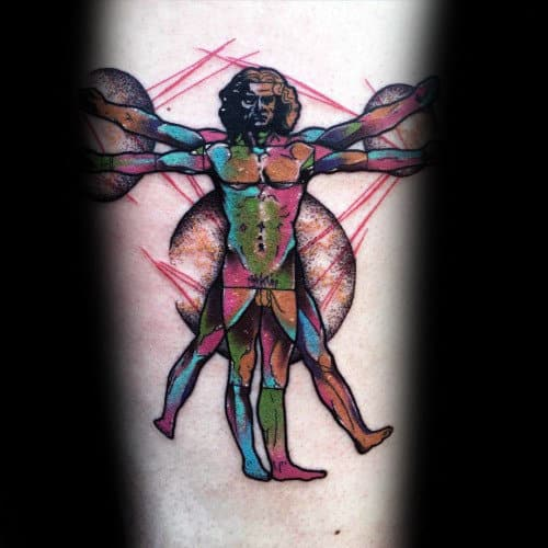 Colorful Vitruvian Man Mens Inner Forearm Tattoo Designs