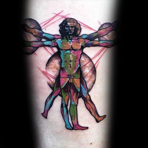 Colorful Vitruvian Man Mens Inner Forearm Tattoo Designs