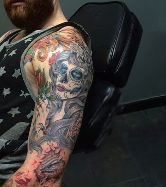 Colorful Water Color Tattoo Day Of The Dead Mens Arms