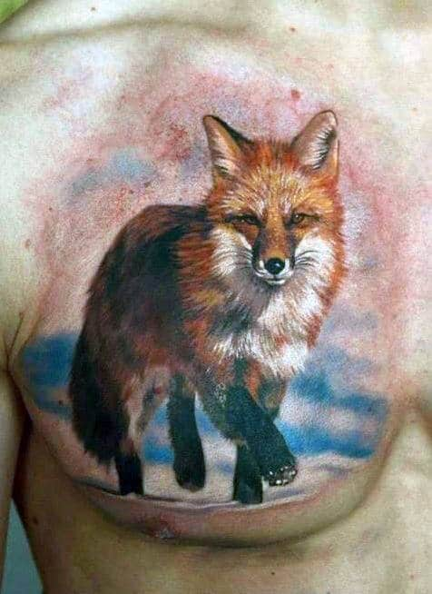 Colorful Watercolor Fox Tattoo Guys Chest