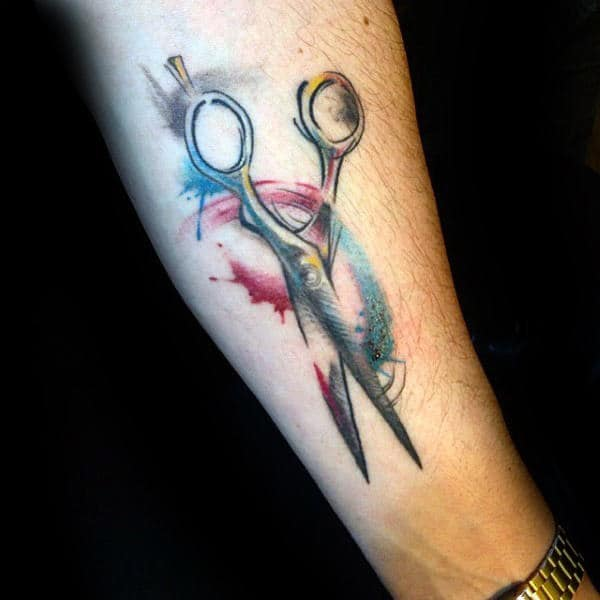 Colorful Watercolor Male Scissor Inner Forearm Tattoo Ideas