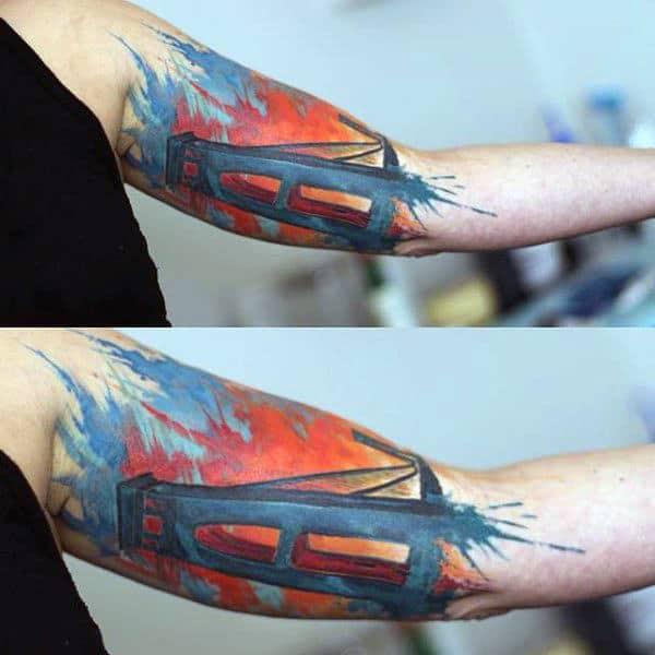 Colorful Watercolor Mens Bridge Inner Arm Bicep Tattoo