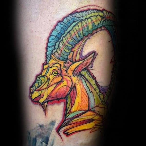 Colorful Watercolor Mens Goat Tattoos