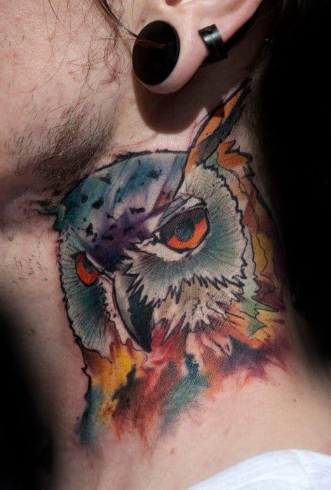 Colorful Watercolor Owl Neck Guys Tattoo Ideas