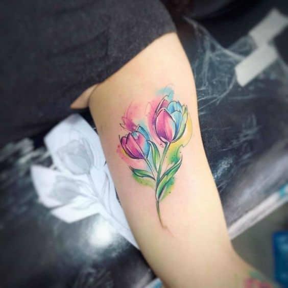 Colorful Watercolor Tulip Tattoo