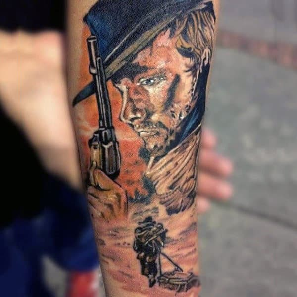 Colorful Western Tattoo Man Holding Rifle