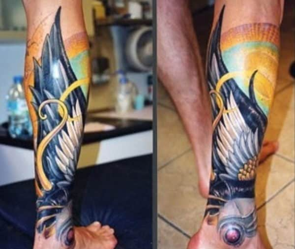 Colorful Wing Male Hermes Tattoo On Leg