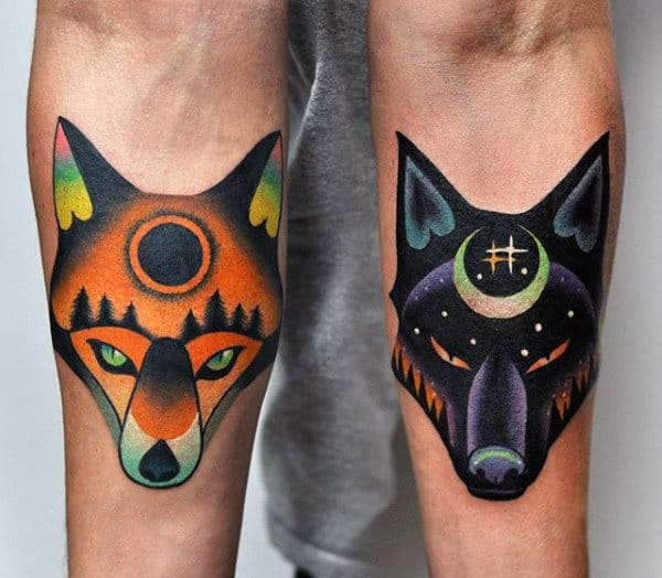 Colorful Wolf And Fox Original Mens Inner Forearm Tattoos