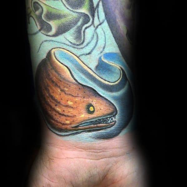 Colorful Wrist Eel Mens Tattoo Designs