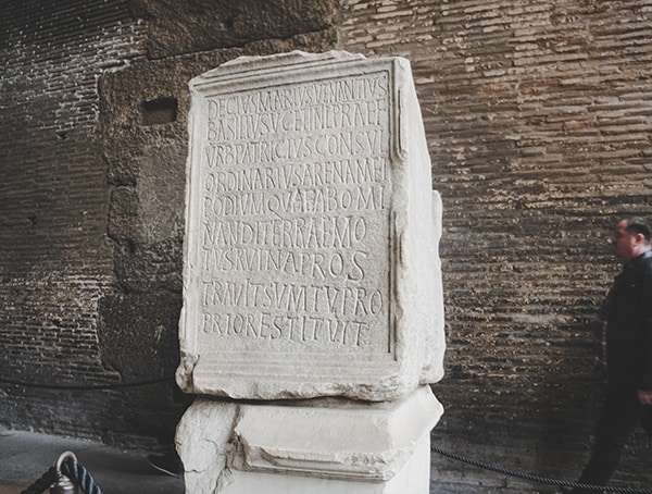 Colosseum Carved Writing Stone Slab