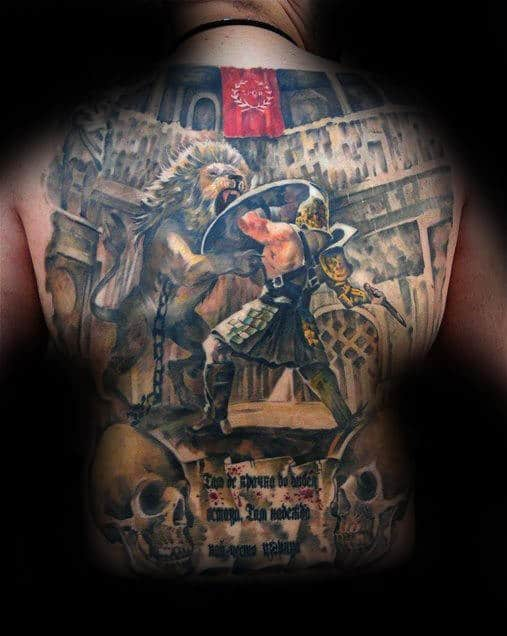 Colosseum Lion And Gladiator Scene Mens Full Back Tattoo