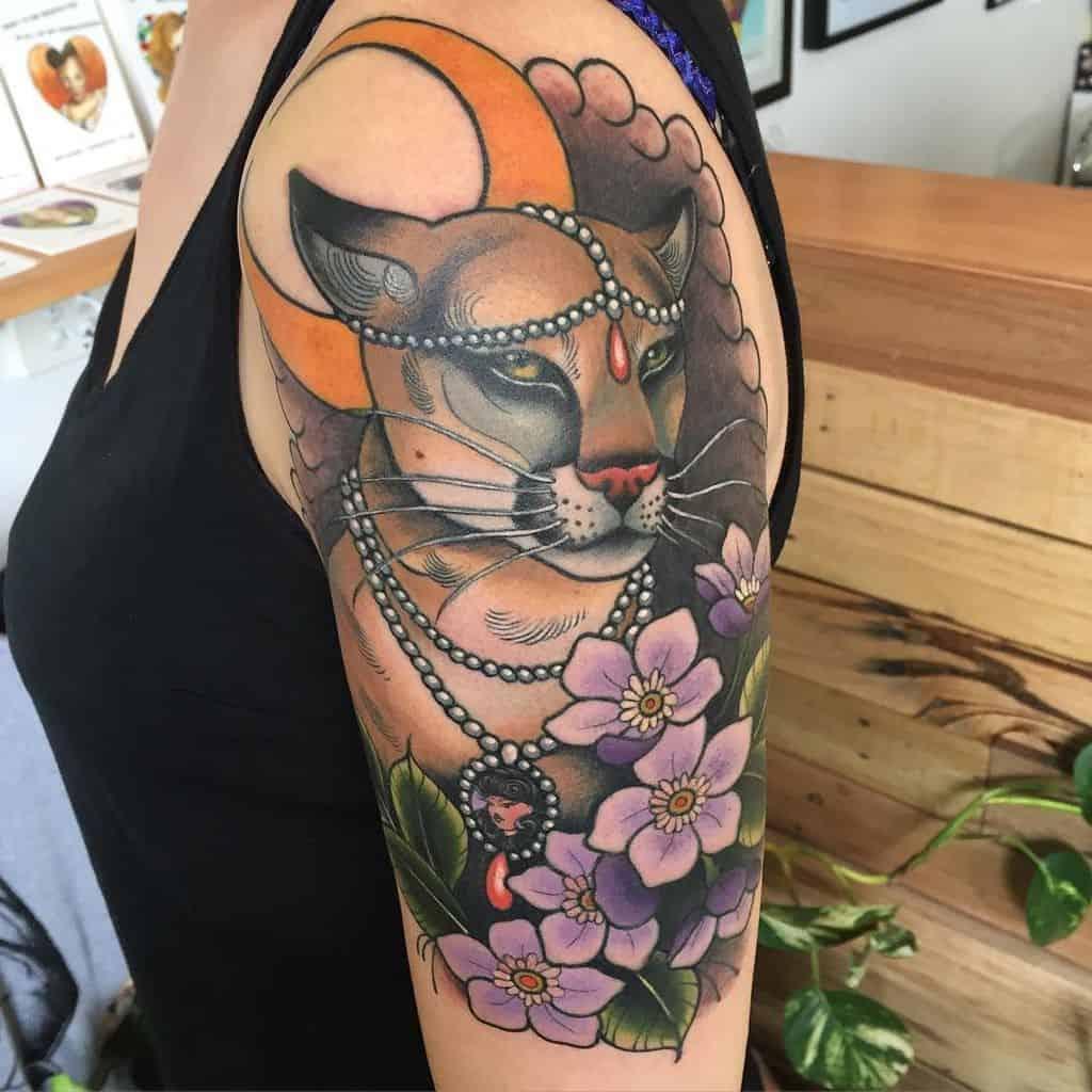 Colour Fresh Big Cat Lioness Tattoo