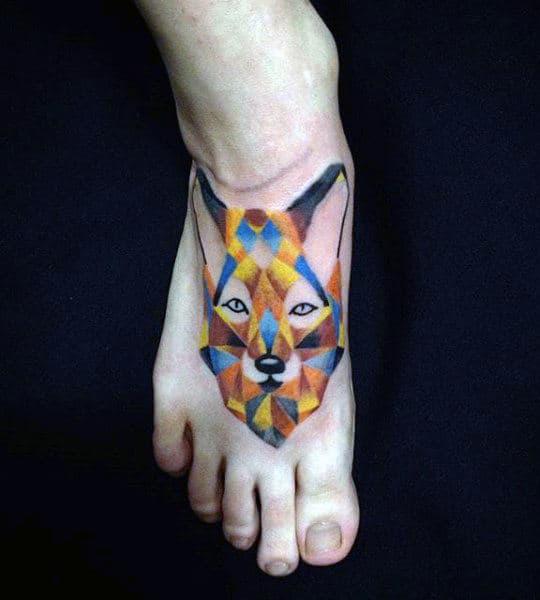 Colourful Geometric Fox Head Tattoo Mens Foot
