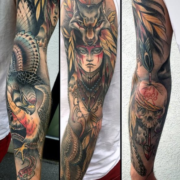 Colourful Native American Full Sleeve Tattoo Princess With Hawk And Wolf Head Costume On Male