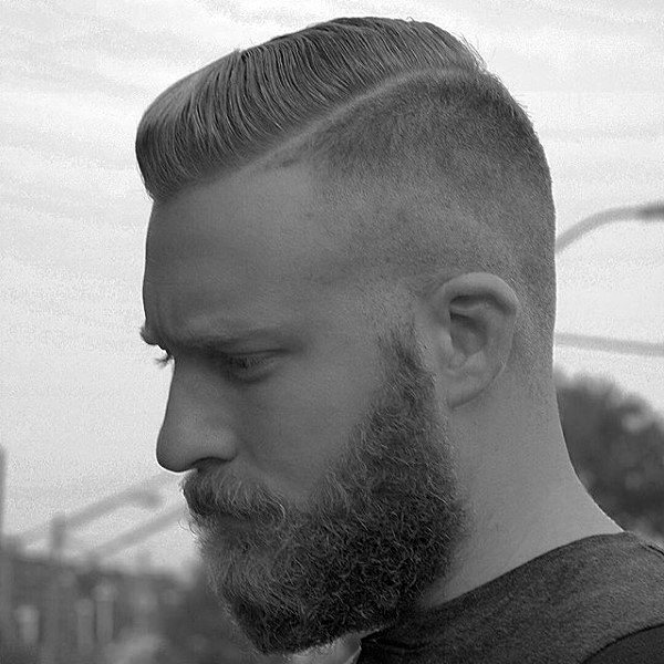 Comb Over Guys Skin Fade Haircut Ideas With Beard