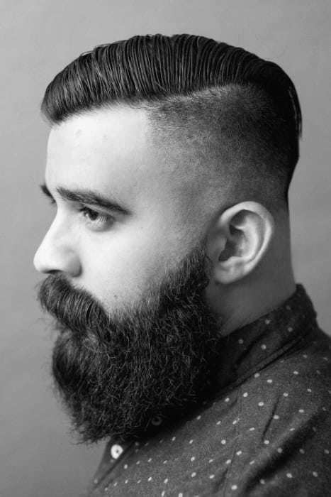 Comb Over Undercut Fade Mens Hair With Beard