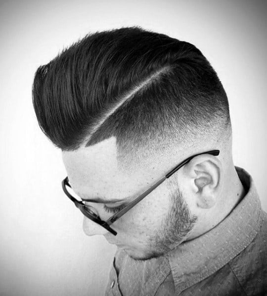 Comb Over With Hard Part And Skin Fade Haircut For Guys