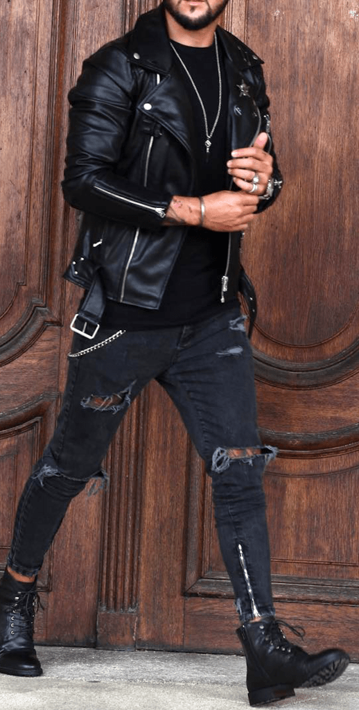 men street style, combat boots with ripped jeans and biker jacket