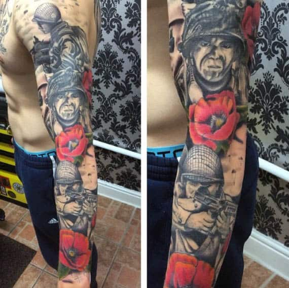 Combat World War I Soliders Poppy Flower Sleeve Mens Tattoo Design