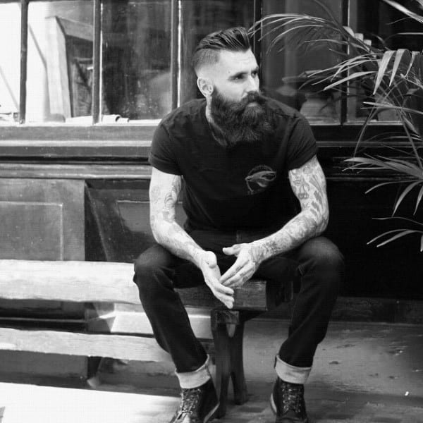 Combed Back Mens Haircut Hipster With High Fade On Sides