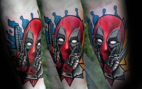Comic Deadpool Male Forearm Tattoo