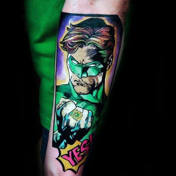 Comic Green Lantern Mens Inner Forearm Tattoo