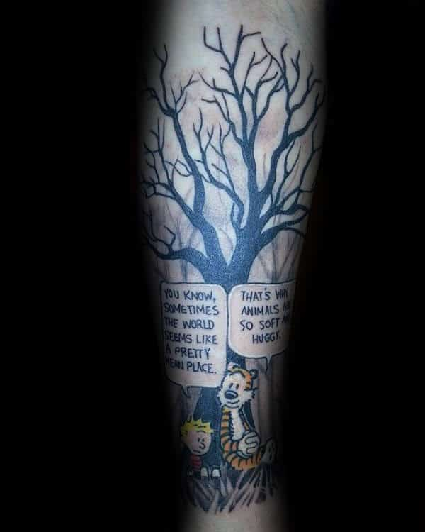 Comic Quote Calvin And Hobbes Mens Sleeve Forearm Tattoo