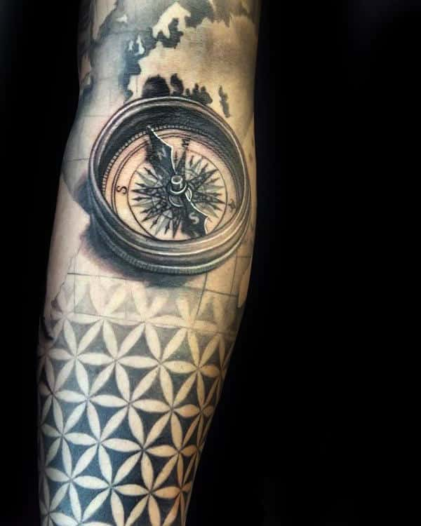 Compass 3d Male Flower Of Life Forearm Sleeve Tattoos