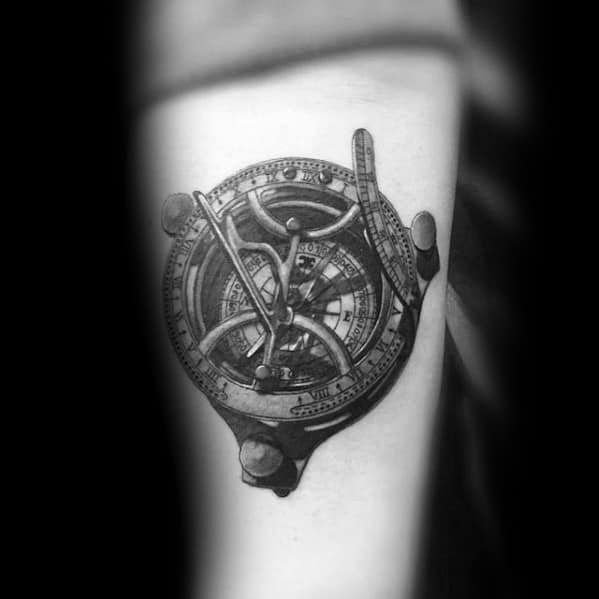 Compass 3d Realistic Small Unique Forearm Tattoos For Men