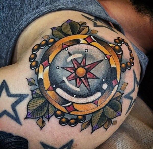 Compass 3d Shoulder Modern Tattoos For Men