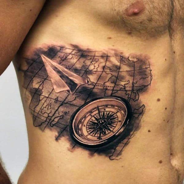 Compass And Map 3d Mens Paper Airplane Rib Cage Side Tattoo