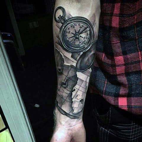 Compass And Map Tattoo Male Forearms