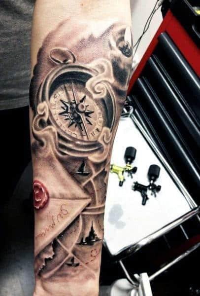 Compass Design Tattoo For Men