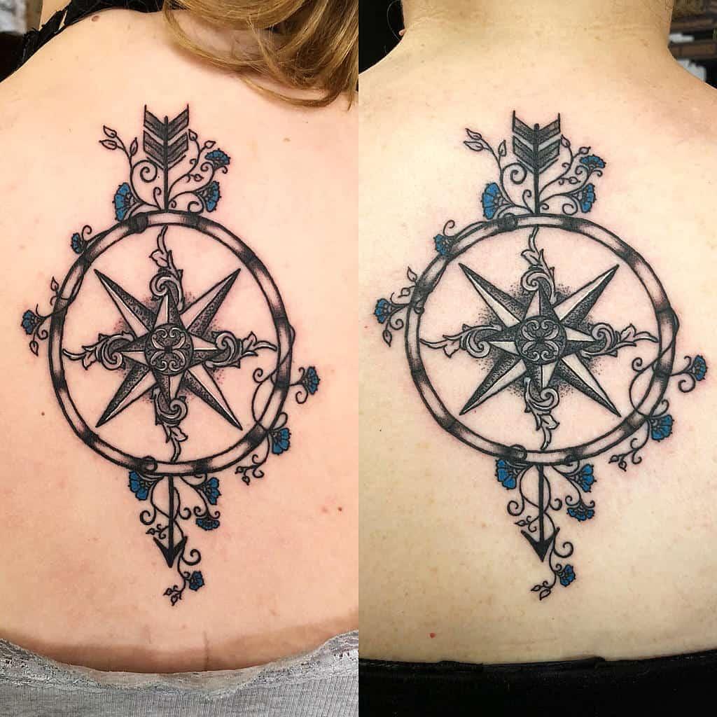 compass-flower-dotwork-matching-mother-daughter-tattoo-jon_doe_tattoos