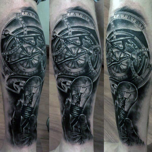 Compass Hand Holding Light Bulb Mens Leg Sleeve Tattoo Ideas