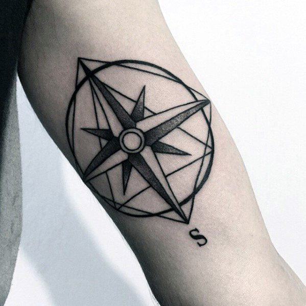 Compass Nautical Star Male Simple Inner Arm Bicep Tattoos