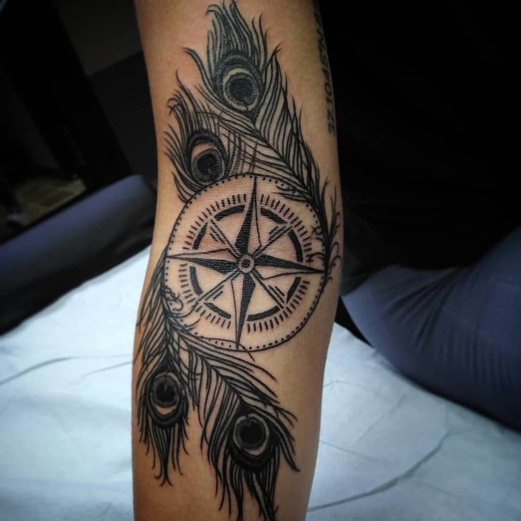 Compass Peacock Feather Tattoo