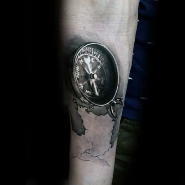 Compass Realistic 3d Male Inner Forearm Tattoo Ideas