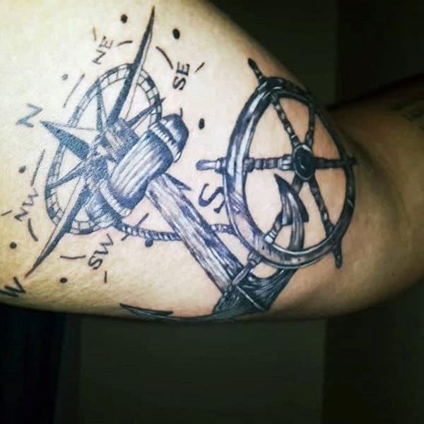 Compass Ship Wheel And Anchor Mens Arm Tattoos