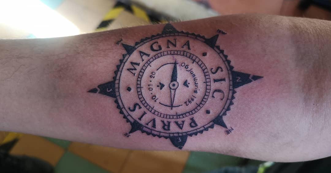 Compass Sic Parvis Magna Tattoos Abdieljg9220