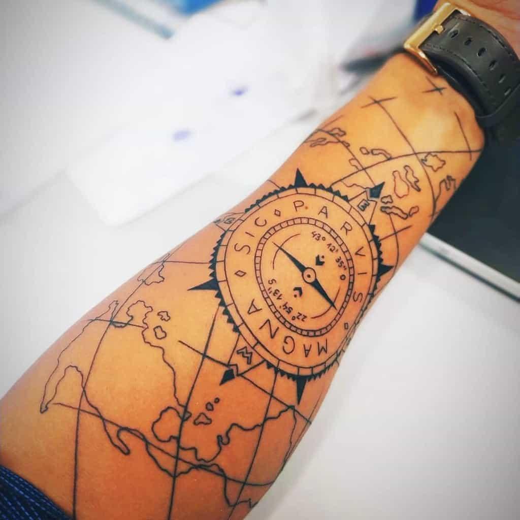 Compass Sic Parvis Magna Tattoos Ailtonsampaiojr