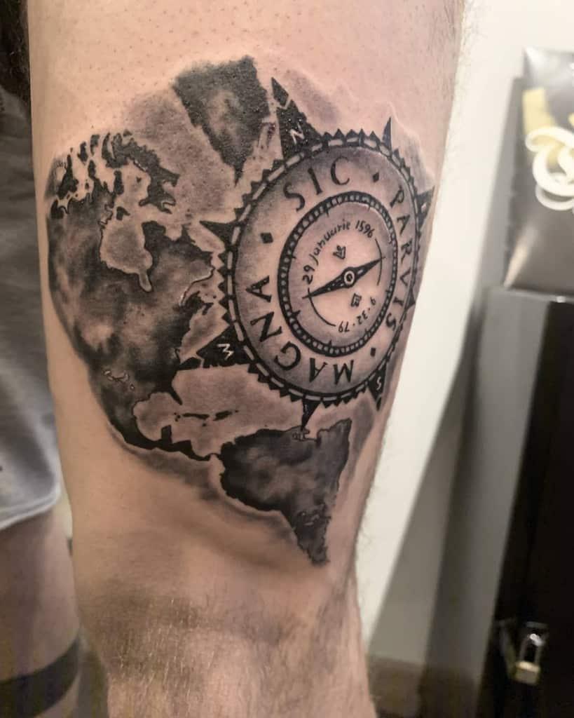 Compass Sic Parvis Magna Tattoos Blerina Banushaj