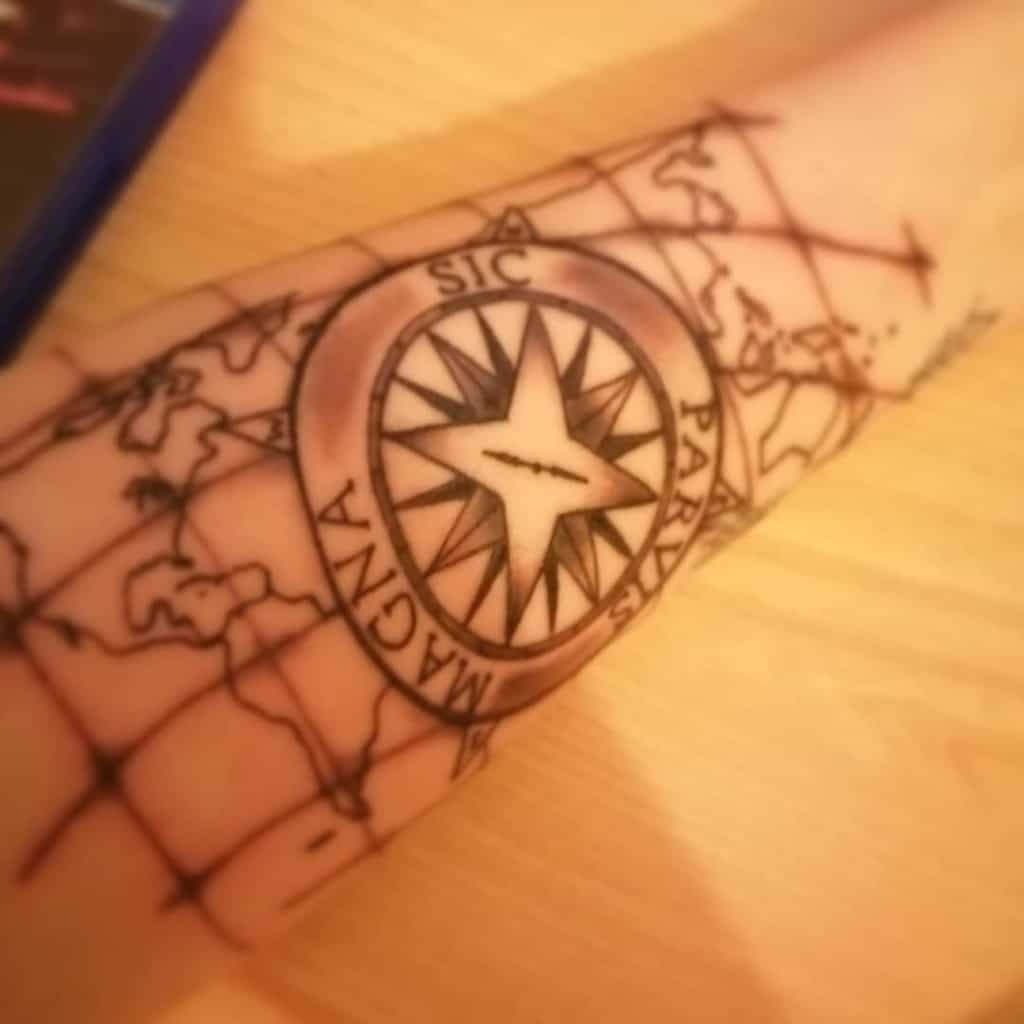 Compass Sic Parvis Magna Tattoos Cjb Games