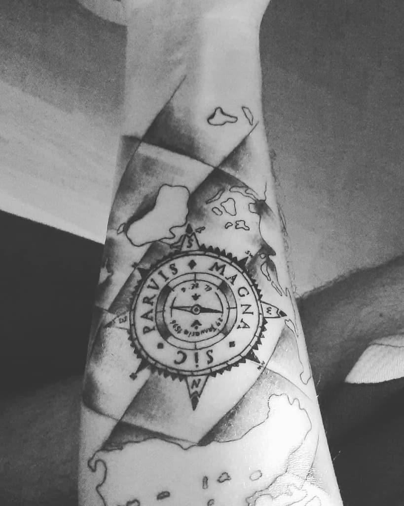 Compass Sic Parvis Magna Tattoos Dodoo 1903