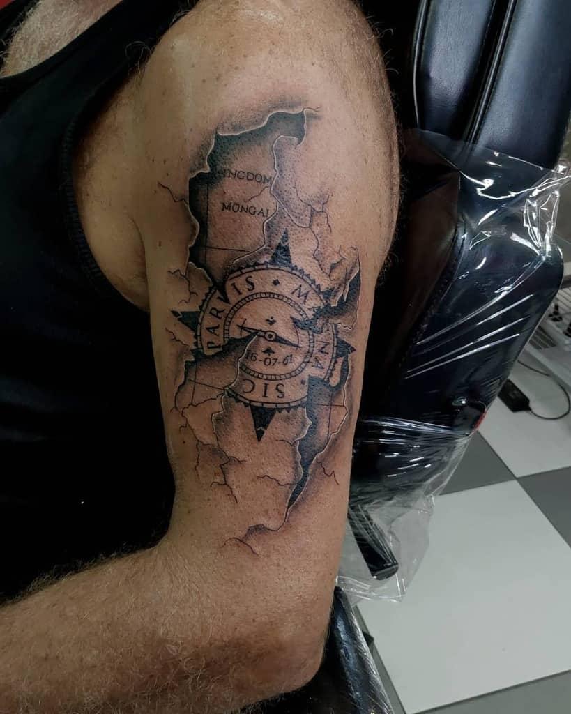 Compass Sic Parvis Magna Tattoos Orlando Tattoos